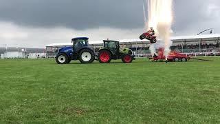 Paul Hannam Jumping two tractors at Royal Cornwall show 2018