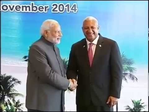 PM Modi meets the Pacific Island Leaders in Fiji