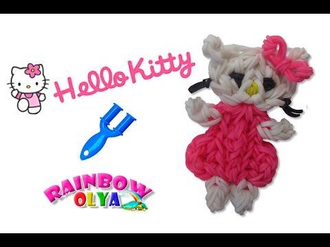 ХЕЛЛО КИТТИ из резинок на рогатке. Фигурка из резинок | Hello Kitti Rainbow Loom Charm