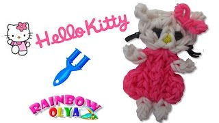 ХЕЛЛО КИТТИ из резинок на рогатке. Фигурка из резинок | Hello Kitti Rainbow Loom Charm