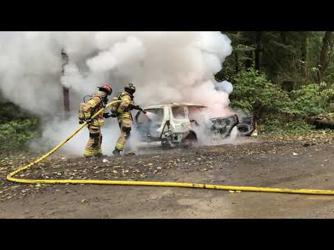 Car Fire With A Magnesium Flash