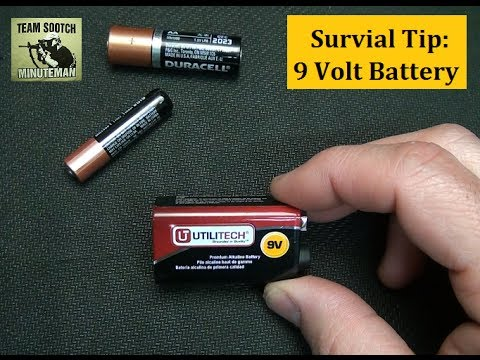 Survival Tip: 9 Volt Battery into AAA Use