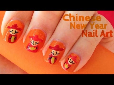 Chinese new year nail art youtube chinese new year nail art prinsesfo Image collections
