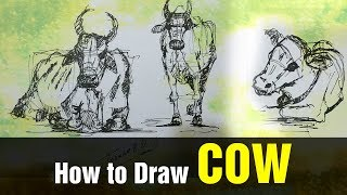 Cow & Bull Drawing | How to draw cow | Cow & Bull Rapid Sketch