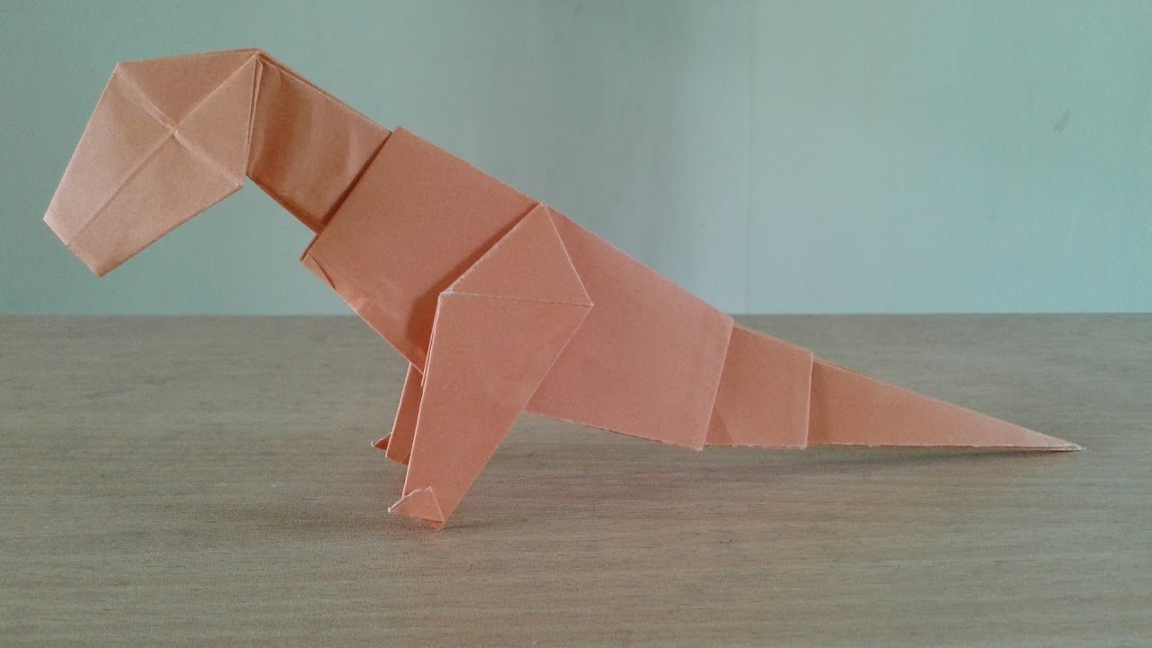 How To Make A Paper Dinosaur T Rex Easy Origami Youtube