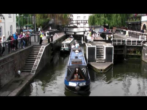 Camden Lock in Operation with Boats. Opening and Closing. Camden Town. London