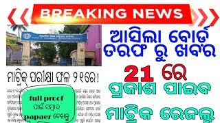 21 Update News ODISHA 10TH RESULT PUBLICATION DATE