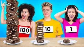 تحدي 100 طبقة من الطعام! || طعام عملاق وتحديات جنونية