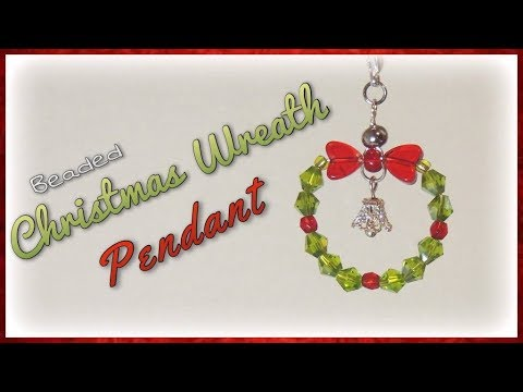 Beaded Christmas Wreath Pendant