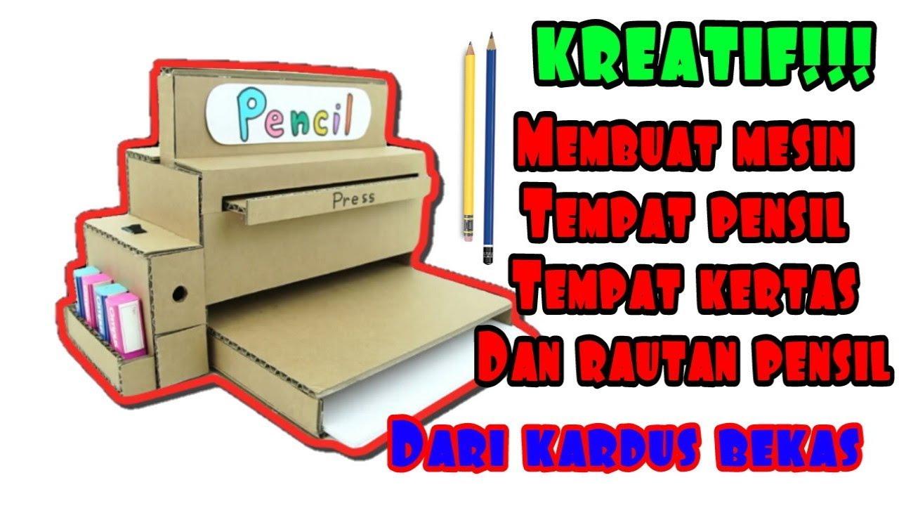 Cara membuat mesin tempat pensil dari kardus bekas - YouTube