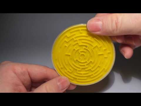 Yellow labyrinth puzzler - Around 40 years old Czech toy - maze