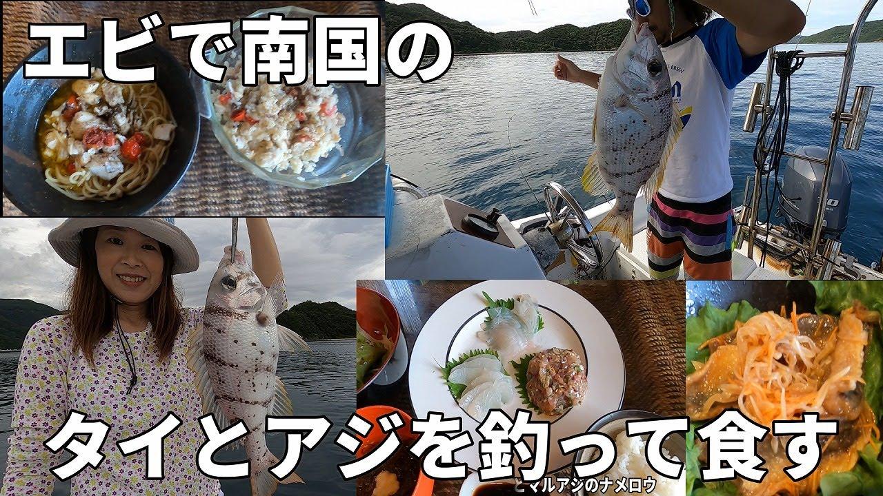 【魚レシピ】エビで南国のタイとアジを釣って食す【魚料理】