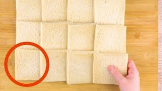 Toma 12 rebanadas de pan de molde y aplánalas. ¿El resultado? ¡Increíble!