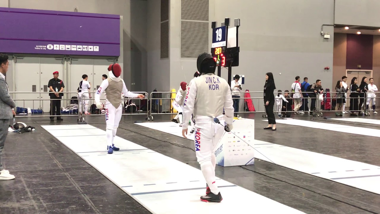19' HONG KONG Fencing open championship L16 AN. HYEONBHIN (KOR) VS JIN CHEONGKI (KOR) - YouTube