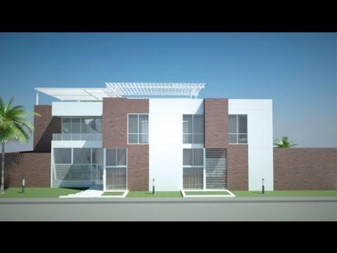 Planos de casa moderna 4 pisos m x m youtube for Casas minimalistas planos