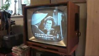Restored vintage Philips black and white tv set from 1958
