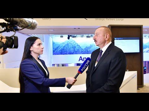 """İlham Əliyev Davosda """"Rossiya 1"""" televiziya kanalına müsahibə verib"""