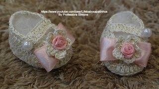 Repeat youtube video Passo a passo Sapatinho em Crochê Princesa