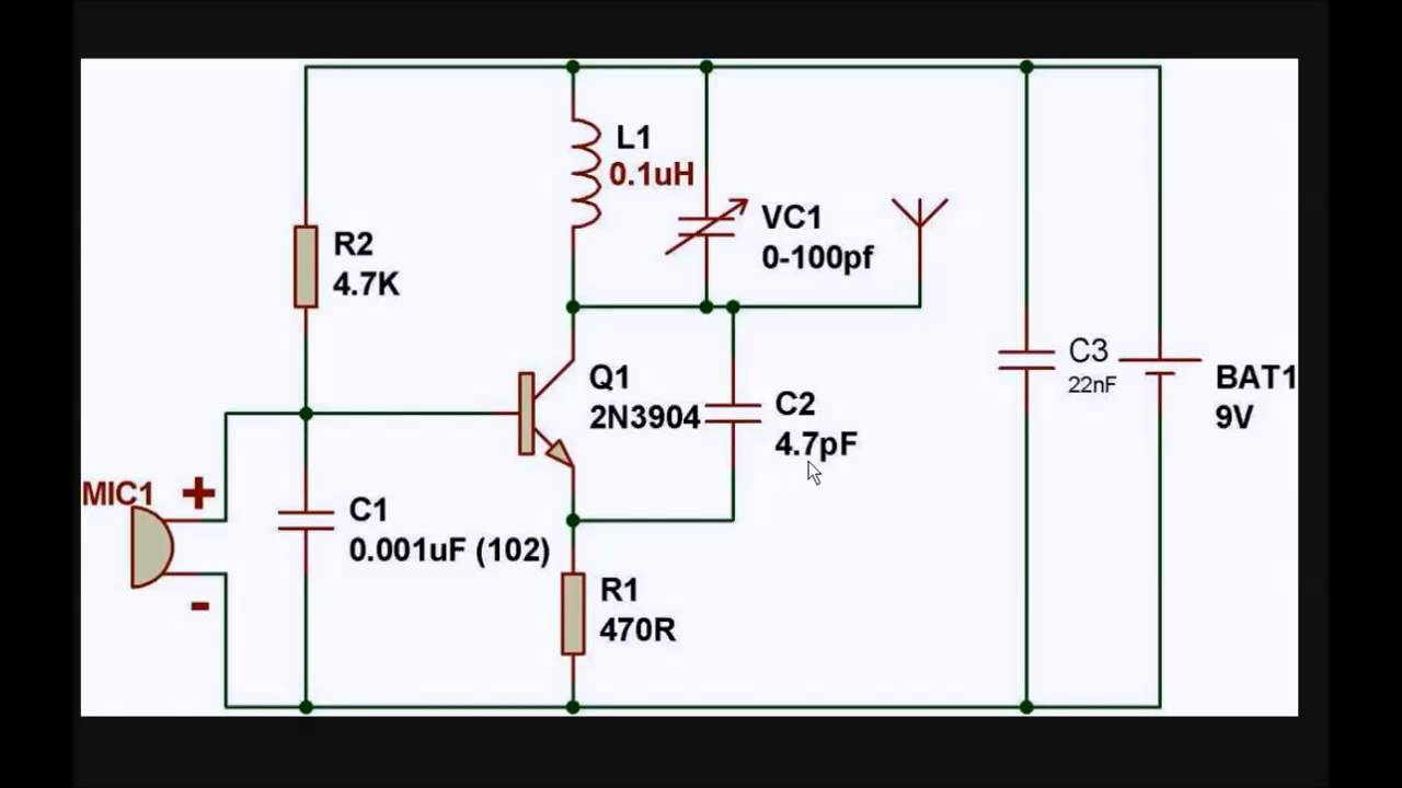 Simple Fm Transmitter Electronics Amp Schematic Circuit Diagrams Spy Bug Using Transistor Gadgetronicx
