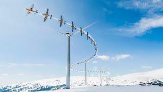 High Speed Slalom Flying Through a Wind Farm