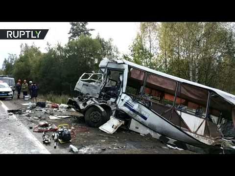 Видео с места ДТП с автобусом в Ярославской области