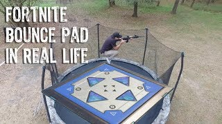 Shooting from a Trampoline! Fortnite Bounce Pad in Real Life