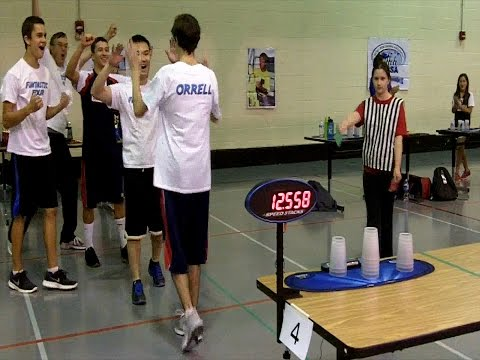 Overall Timed 3-6-3 Relay Sport Stacking World Record 12.558 (Fantastic Four)
