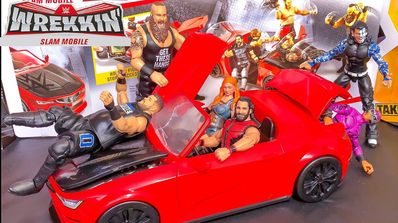WWE Braun Strowman With Car Wrekkin Slam Mobile Action Figure Playset NEW!
