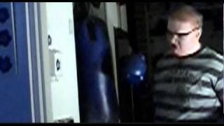 Slow motion hitting the heavy bag