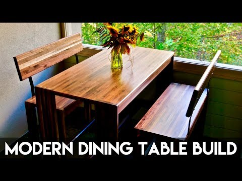 Modern Walnut Dining Table and Benches | How To Build - Woodworking