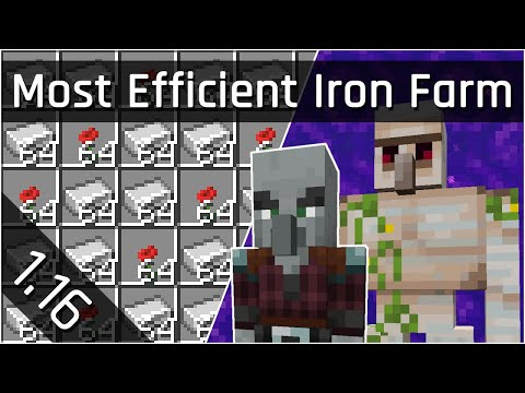 Most Efficient Iron Farm Tutorial | Minecraft Java 1.16 (The Nether Update)