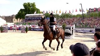Guillaume Canet performing at the Longines Eiffel Jumping in Paris