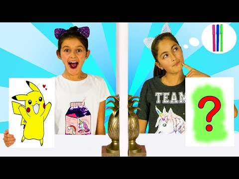 Twin Telepathy 3 Marker Challenge!! w/ Vampirina +POKEMON Detective Pikachu + Wreck it Ralph