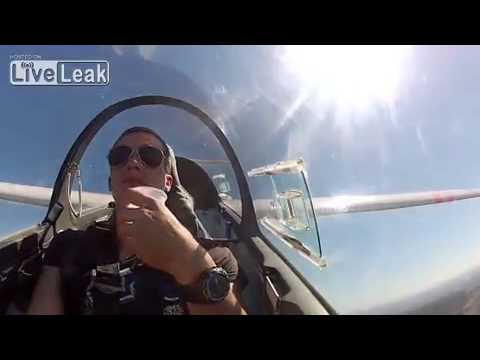 Barrel roll with a glass of water on a glider