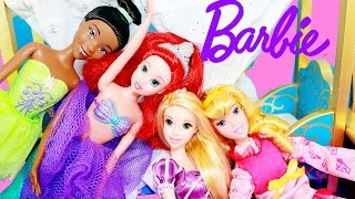 Disney Princess Barbie Doll Videos Doll Collection Ariel Mermaid Aurora Tangled Rapunzel Tiana Frog