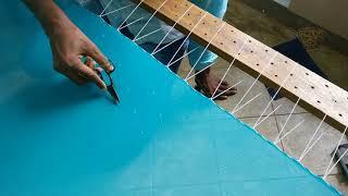 Pearl work on a Tusser silk saree - full process