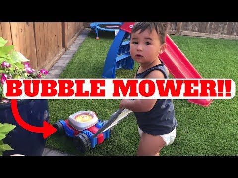 Fisher-Price Bubble Lawn Mower For Kids Toy In Action!!!