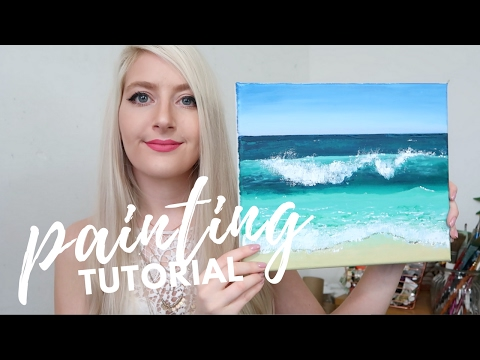PAINTING TUTORIAL Acrylic Ocean for Beginners  | Katie Jobling Art