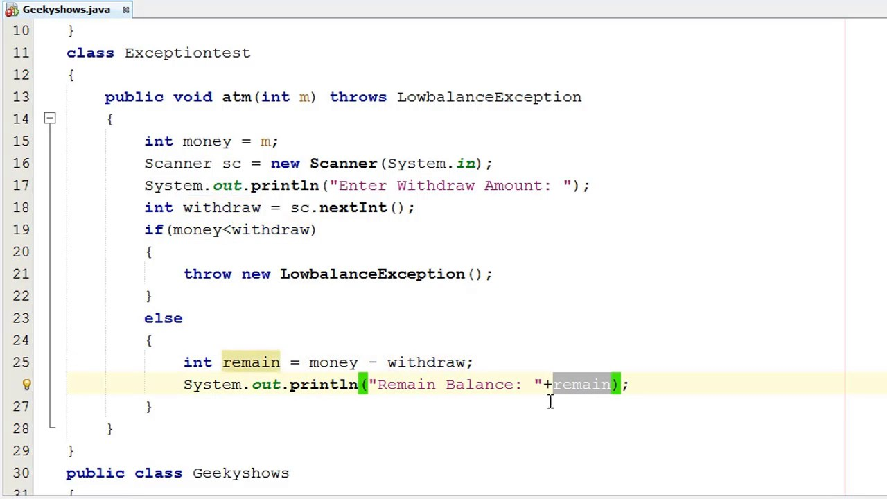 211  User Defined Checked Exception in Java Programming (Hindi)