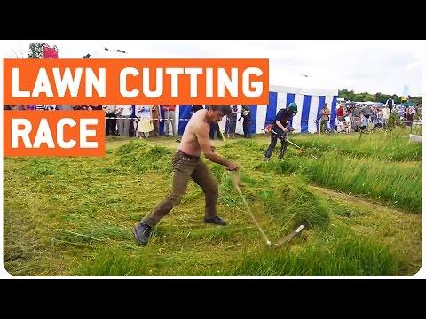 Old School vs New School   Lawn Cutting Race