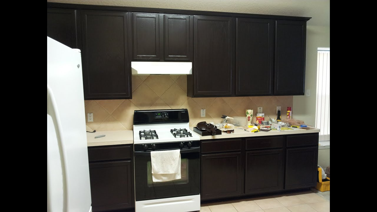Interior Stain Kitchen Cabinets gel staining kitchen cabinets youtube