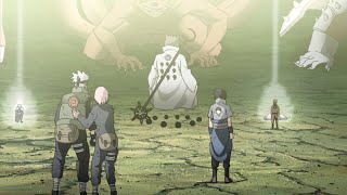 육도는 모든 카게의 영혼을 소환한다, 나루토는 미나토에게 작별인사를 한다
