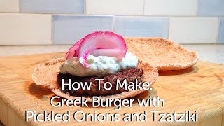 Roasted Red Pepper & Feta Greek Burger with Pickled Onions and Tzatziki