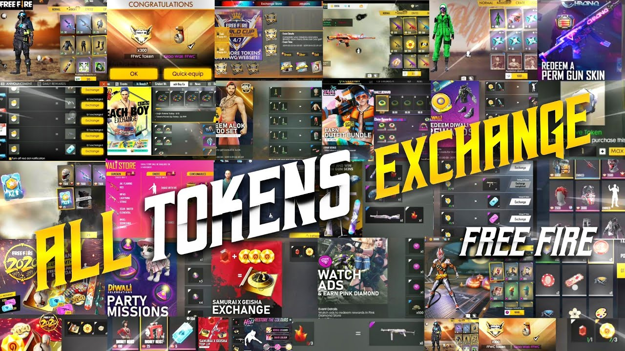 ALL TOKENS FREE FIRE || ALL TOKENS EXCHANGE EVENTS || FREE FIRE ALL TOKENS EXCHANGE || TSK