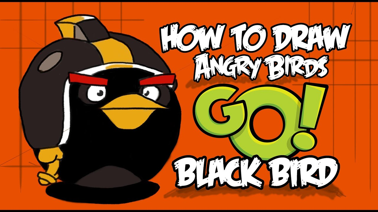How To Draw Black Bird (Angry Birds GO!)!!
