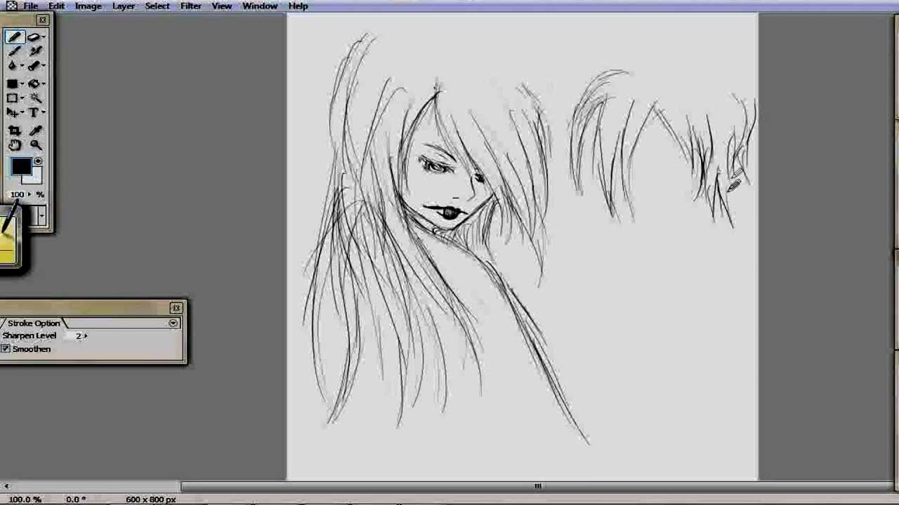 speed drawing  bamboo manga tablet first time using