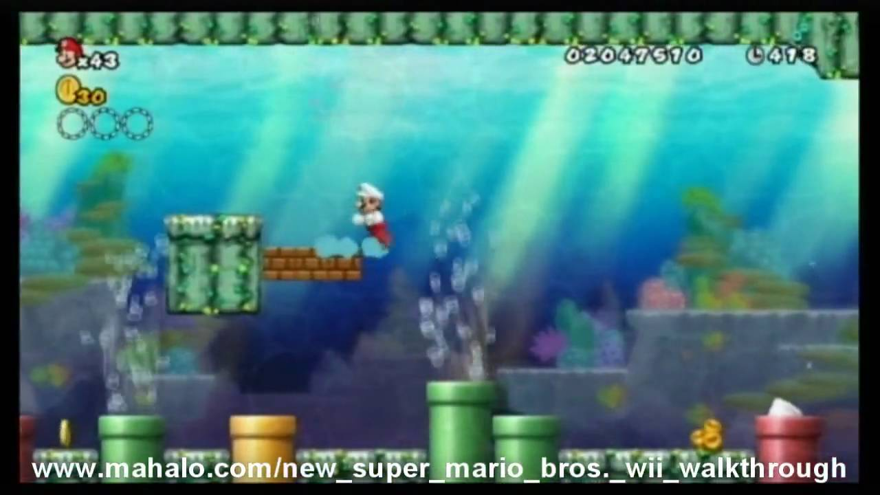 New Super Mario Bros Wii Walkthrough World 4 4 Youtube