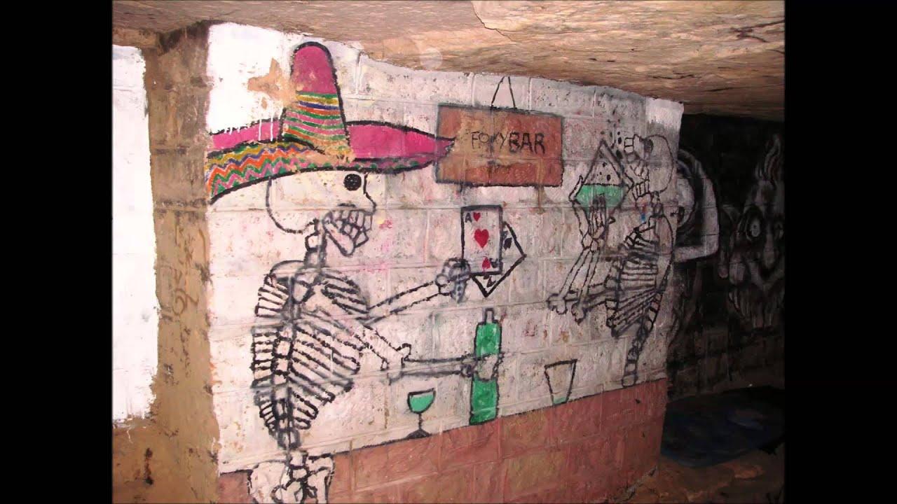 Paris rare view of underground sous street art graffiti catacombs