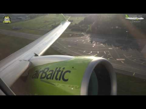 Pratt & Whitney PW1500G geared turbofan - POWERFUL but SILENT Air Baltic CS300 Takeoff! [AirClips]