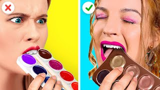 REAL VS CHOCOLATE FOOD CHALLENGE! || Extreme Food Challenges by 123 Go! Gold